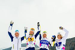 February 3, 2018 - Goms, SWITZERLAND - 180203 Tua Dahlgren, Alicia Persson, Frida Karlsson and Johanna HagstrÅ¡m of Sweden celebrate after coming third in the women's 4x3,3 km relay during the FIS Nordic Junior World Ski Championships on February 3, 2018 in Obergoms..Photo: Vegard Wivestad GrÂ¿tt / BILDBYRN / kod VG / 170098 (Credit Image: © Vegard Wivestad Gr¯Tt/Bildbyran via ZUMA Press)
