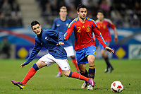 FOOTBALL - UNDER 21 - FRIENDLY GAME - FRANCE v SPAIN - 24/03/2011 - PHOTO GUILLAUME RAMON / DPPI - REMI CABELLA (FRA) / MARIO GASPAR PEREZ (SPA)