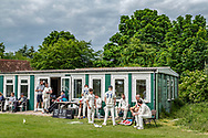 Embleton, Alnwick, Northumberland, England, UK. 19th June 2021. Embleton village near Alnwick host Berwick upon Tweed during a 30 over match in the Northumberland league on a Saturday afternoon.