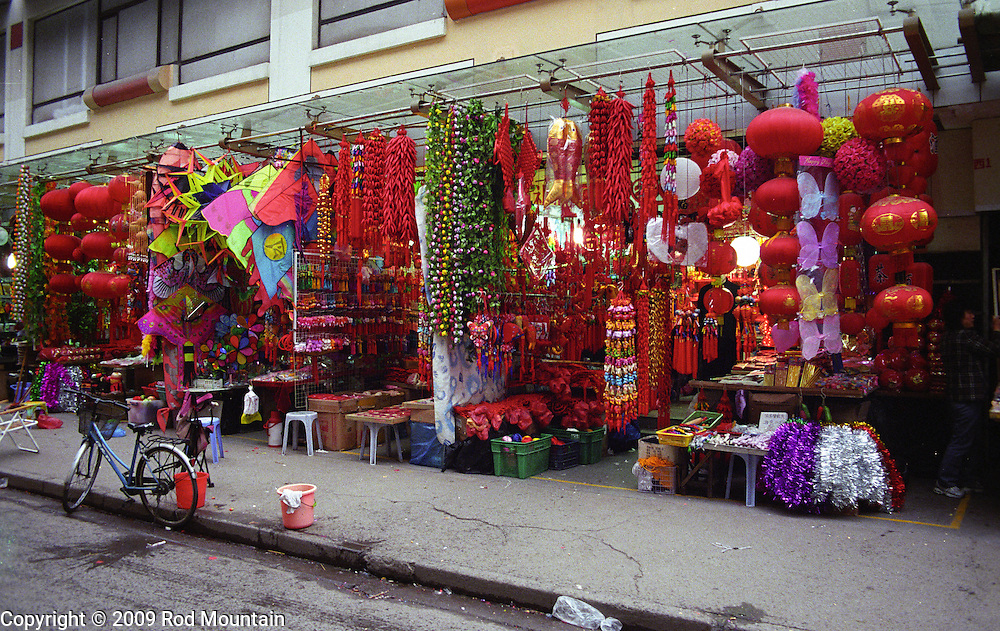 Traditional Chinese Red dominates the colour scheme for decorations sold by vendors in Shanghai, China.