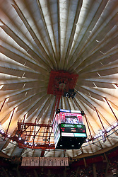31 December 2008: The scoreboard over center court appears to be a gondola hanging under a giant parachute.  Illinois State University Redbirds extended their record to 13-0 with an 80-50 win over the Evansville Purple Aces on Doug Collins Court inside Redbird Arena on the campus of Illinois State University in Normal Illinois