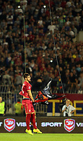 Fotball<br /> EM-kvalifisering<br /> Serbia v Albania<br /> 14.10.2014<br /> Foto: imago/Digitalsport<br /> NORWAY ONLY<br /> <br /> Stefan Mitrovic Serbia take off provocative flag of big albania 1912 from dron unmanned Aerial Vehicle