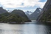 Entrance to Trollfjorden fiord, Lofoten Islands, Nordland, northern, Norway