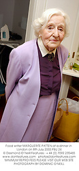Food writer MARGUERITE PATTEN at a dinner in London on 8th July 2002.<br />PBU 24