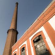 Ciminiera di una fabbrica a Crespi d'Adda.<br /> Smokestack of a factory in Crespi d'Adda