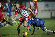 Sean McConville (Accrington Stanley) about to take a shot during the Sky Bet League 2 match between Accrington Stanley and Hartlepool United at the Fraser Eagle Stadium, Accrington, England on 19 January 2016. Photo by Mark P Doherty.