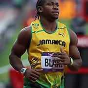 Johan Blake, Jamaica, winning his Men's 100m Semi Final at the Olympic Stadium, Olympic Park, Stratford at the London 2012 Olympic games. London, UK. 5th August 2012. Photo Tim Clayton