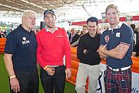 AMSTERDAM - Piet Schrijvers, Floris de Vries, Inder van Weerelt en Wouter de Vries.Golfbeurs , Amsterdam Golf Show, in de Amsterdamse Rai. COPYRIGHT KOEN SUYK