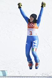 February 15, 2018 - Pyeongchang, South Korea - FEDERICA BRIGNONE of Italy celebrates on the awards stand after winning silver in the Womens Giant Slalom event Thursday, February 15, 2018 at the Yongpyang Alpine Center at the Pyeongchang Winter Olympic Games.  Photo by Mark Reis, ZUMA Press/The Gazette (Credit Image: © Mark Reis via ZUMA Wire)