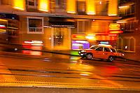 Night scene, Powell Street, San Francisco, California USA