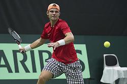 September 15, 2017 - Biel, Schweiz - Biel, 15.09.2017, Tennis, Davis Cup, Schweiz - Weissrussland, Dzmitry Zhyrmont (BLR) (Credit Image: © EQ Images via ZUMA Press)