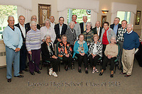 "Laconia High School's Class of 1943 at the Laconia Country Club Thursday afternoon. Back Row (l-r) Roger McGrath, Leopold Bourgault, Arnold Goss, Wesley Noyes, John Richardson, Royce Crimmins, Paul Morin, Kenneth Nutter and William Wilkinson.  Middle Row (l-r) Rita ""Smart"" Mayo, Aileen ""Lacasse"" McLetchie, Roger Paquette, Alice Boutin, Angeline ""Cyr"" LaRose, Rosemary ""Jackson"" Woodman and Melvin Reever.  Front Row (l-r)  Jacqueline ""Smith"" Brasley, Mary ""Stefan"" Currier, Olive ""Smith"" Haddock, Ethelyn ""Jones"" Nutter and Noella ""Walker"" Maheux.    (Karen Bobotas/for the Laconia Daily Sun)"