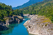 Der Siang Fluß bei Along in Arunachal Pradesh, Nordost Indien*The beautiful Siang river in  Arunachal Pradesh near Along, Northeast India