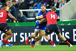 Giulio Bisegni of Italy is tackled by Ruaridh McConnochie of England<br /> <br /> Photographer Craig Thomas/Replay Images<br /> <br /> Quilter International - England v Italy - Friday 6th September 2019 - St James' Park - Newcastle<br /> <br /> World Copyright © Replay Images . All rights reserved. info@replayimages.co.uk - http://replayimages.co.uk