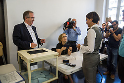 June 18, 2017 - Villeurbanne, France - Former French Education minister and Socialist party (PS) candidate for the second round of the parlamentiary elections (elections legislatives in French) in the Rhone region, Najat Vallaud-Belkacem, leaves a polling station after voting in Villeurbanne on June 18, 2017. (Credit Image: © Nicolas Liponne/NurPhoto via ZUMA Press)