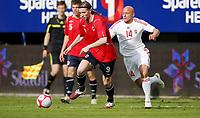 Fotball <br /> Privatlandskamp  U21 menn<br /> Friendly International U 21 Match<br /> Briskeby Gressbane <br /> 28.05.2010<br /> Norge v Ungarn<br /> Norway v Hungary  2-1<br /> Foto: Dagfinn Limoseth, Digitalsport<br /> Jo Inge Berget , Norway og József Varga , Hungary