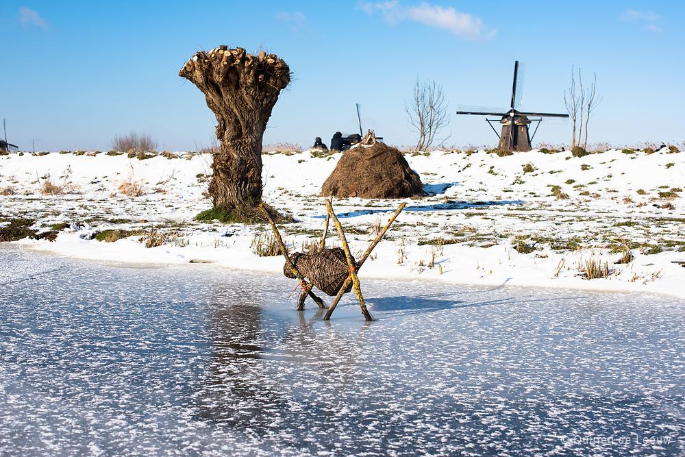 Dutch winter landscape at Kinderdijk, South of Holland