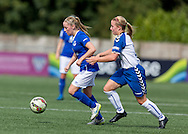 Kelly Jones (Everton Ladies) retains possession whilst being shadowed by Chloe Macek (Durham Womens FC) in action during the FA Women's Super League match between Durham Women FC and Everton Ladies at New Ferens Park, Belmont, United Kingdom on 30 August 2015. Photo by George Ledger.