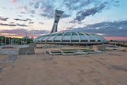 Sunset on Olympic Stadium, Stade olympique, montréal, Hochelaga-maisonneuve, Quebec, Canada