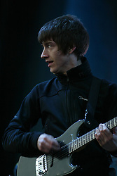 Alex Turner of the Artic Monkeys  headline on the main stage at T in the Park, Friday 6 July 2007..T in the Park festival took place on the 6th, 7th and 8 July 2007, at Balado, near Kinross in Perth and Kinross, Scotland. This was the first time the festival had been held over three days..Pic ©2011 Michael Schofield. All Rights Reserved..