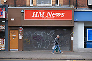 Closed down newsagents in Kings Heath on 9th August 2021 in Birmingham, United Kingdom. With the advent of online news services and web based publishing, many newsagent shops have closed for good.