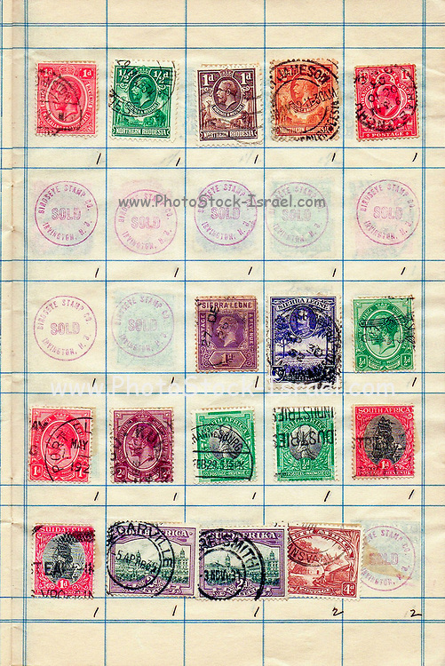 A collection of old stamps from Northern Rhodesia, Sierra Leone and the Union of South Africa Philately is the study of postage stamps and postal history.