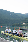 Aiguebelette, FRANCE. GBR W4X boat [Bow. Beth RODFORD, Lucinda GOODERHAM, Kristina STILLER and Victoria MEYER-LAKER] moving away from the boating pontoon, for their early morning training session, at the 2014 FISA World Cup II, 06:34:21  Saturday  21/06/2014. [Mandatory Credit; Peter Spurrier/Intersport-images]