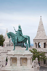 View of Saint Stephen, Fishermans Bastion in background, Budapest, Hungary