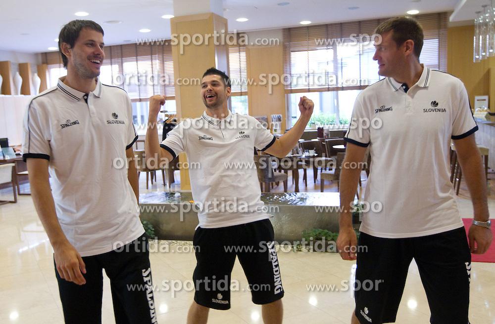 Bostjan Nachbar, Saso Ozbolt and Goran Jagodnik during media day at training camp of Slovenian National Basketball team for Eurobasket Lithuania 2011, on July 19, 2011, in Arena Ljudski vrt, Ptuj, Slovenia.  (Photo by Vid Ponikvar / Sportida)