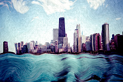 Chicago Windy City digital art painting with the Hancock building and other popular downtown Chicago city buildings. The image is digital artwork created from a photograph.