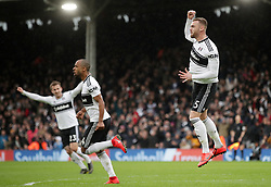 Fulham's Calum Chambers (right) celebrates scoring his side's first goal of the game during the Premier League match at Craven Cottage, London.