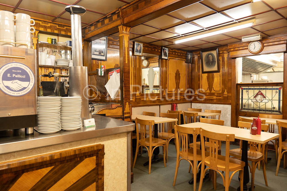 Interior of E Pellicci traditional Italian run family cafe on the 20th September 2019 in London in the United Kingdom. E Pellicci cafe is on Bethnal Green Road and has been trading since 1900.
