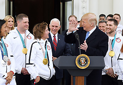 U.S President Donald Trump speaks with snowborder gold medalist Red Gerard during a celebration for Team USA following the 2018 Winter Olympics. on the North Portico of the White House in Washington, DC, on April 27, 2018. Photo by Olivier Douliery/Abaca Press