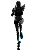 one caucasian woman runner running jogger jogging  in studio silhouette isolated on white background