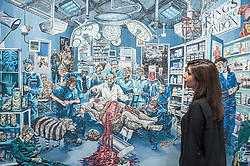 """© Licensed to London News Pictures. 22/04/2015. New Bond Street, London. A Sotheby's staff member looks at """"The Autopsy in King's College"""", one of the works unveiled by London-based artist Henry Hudson, using Plasticine as a medium.  The piece is part of the series entitled """"The Rise and Fall of Young Sen - The Contemporary Artist's Progress"""" at Sotheby's.  The series follows the plight of Young Sen, from his home in rural China, to his rise on the international art scene and his eventual demise embroiled in a world of drugs, vice and the darkest corners of global politics. Photo credit : Stephen Chung/LNP"""
