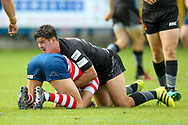 Bradford Bulls second row James Bentley (20) pits a tackle in during the Kingstone Press Championship match between Oldham RLFC and Bradford Bulls at Bower Fold, Oldham, United Kingdom on 13 August 2017. Photo by Simon Davies.