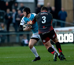 Sam Davies of Ospreys under pressure from Aaron Jarvis of Dragons<br /> <br /> Photographer Simon King/Replay Images<br /> <br /> Guinness PRO14 Round 12 - Dragons v Ospreys - Sunday 30th December 2018 - Rodney Parade - Newport<br /> <br /> World Copyright © Replay Images . All rights reserved. info@replayimages.co.uk - http://replayimages.co.uk