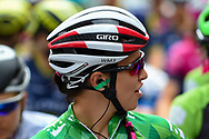 Katarzyna Niewiadoma (POL) riding for WM3 Pro Cycling on the start grid before  the OVO Energy Women's Tour, London Stage, at Regent Street, London, United Kingdom on 11 June 2017. Photo by Martin Cole.