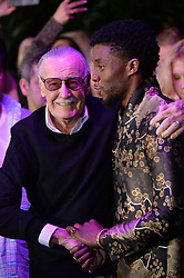 Stan Lee and Chadwick Boseman attend the premiere of Disney and Marvel's 'Black Panther' at Dolby Theatre on January 29, 2018 in Los Angeles, CA, USA. Photo by Lionel Hahn/ABACAPRESS.COM