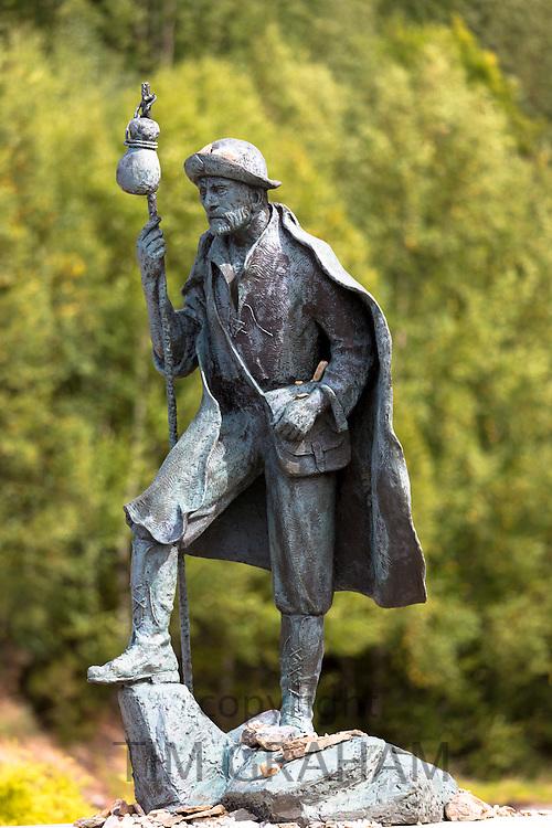 Pilgrim statue on Pilgrim Route, Camino de Santiago de Compostela in Galicia, Spain