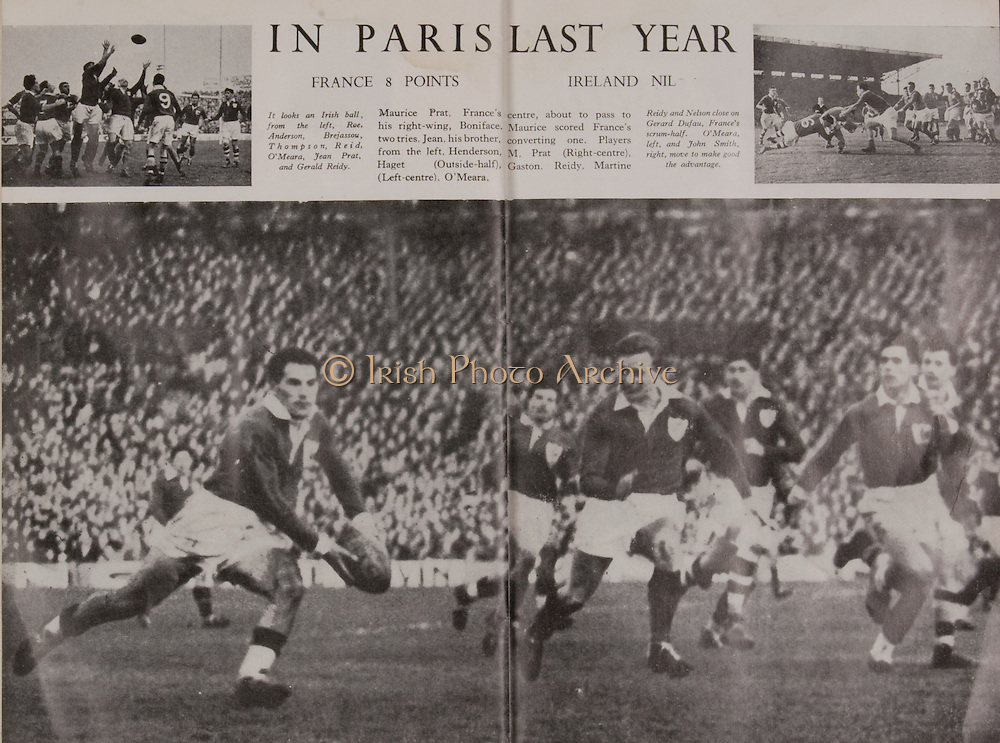 Irish Rugby Football Union, Ireland v France, Five Nations, Landsdowne Road, Dublin, Ireland, Saturday 22nd January, 1955,.22.1.1955, 1.22.1955,..Referee- Mr Ivor David, Welsh Rugby Union, ..Score- Ireland 3 - 5 France,..Irish Team, ..W R Tector, Wearing number 15 Irish jersey, Full Back, Wanderers Rugby Football Club, Dublin, Ireland, ..S J Byrne, Wearing number 14 Irish jersey, Right Wing, University College Dublin Rugby Football Club, Dublin, Ireland, ..N J Henderson, Wearing number 13 Irish jersey, Right centre, N.I.F.C, Rugby Football Club, Belfast, Northern Ireland,..A J O'Reilly, Wearing number 12 Irish jersey, Left Centre, Old Belvedere Rugby Football Club, Dublin, Ireland,  ..A C Pedlow, Wearing number 11 Irish jersey, Left wing, Queens University Rugby Football Club, Belfast, Northern Ireland,..J W Kyle, Wearing number 10 Irish jersey, Ouside Half, N.I.F.C, Rugby Football Club, Belfast, Northern Ireland,..J A O'Meara, Wearing number 9 Irish jersey, Scrum, Dolphin Rugby Football Club, Cork, Ireland, ..P J O'Donoghue, Wearing  Number 1 Irish jersey, Forward, Bective Rangers Rugby Football Club, Dublin, Ireland,..R Roe, Wearing number 2 Irish jersey, Forward, Landsdowne Rugby Football Club, Dublin, Ireland, ..F E Anderson, Wearing number 3 Irish jersey, Forward, N.I.F.C, Rugby Football Club, Belfast, Northern Ireland,..W J O'Connell, Wearing number 4 Irish jersey, Forward, Landsdowne Rugby Football Club, Dublin, Ireland,..R H Thompson, Wearing number 5 Irish jersey, Captain of the Irish Team, Forward, Instonians Rugby Football Club, Belfast, Northern Ireland,..J S McCarthy, Wearing number 6 Irish jersey, Forward, Dolphin Rugby Football Club, Cork, Ireland, ..J R Kavanagh, Wearing number 7 Irish jersey, Forward, Wanderers Rugby Football Club, Dublin, Ireland, ..M J Cunningham,  Wearing number 8 Irish jersey, Forward, University college Cork Rugby Football Club, Cork, Ireland,  ..French Team, ..M Vannier, Wearing number 15 French jersey, Full Back, Racing Club