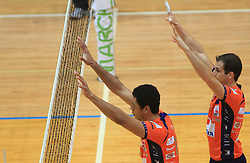 Thomas Delano and Nicholas Cundy at finals of Slovenian volleyball cup between OK ACH Volley and OK Salonit Anhovo Kanal, on December 27, 2008, in Nova Gorica, Slovenia. ACH Volley won 3:2.(Photo by Vid Ponikvar / SportIda).