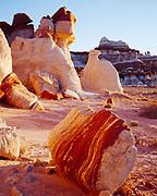 Hoodoos along the wall of Blue Canyon, Moenkopi Wash, Hopi Reservation, Arizona.
