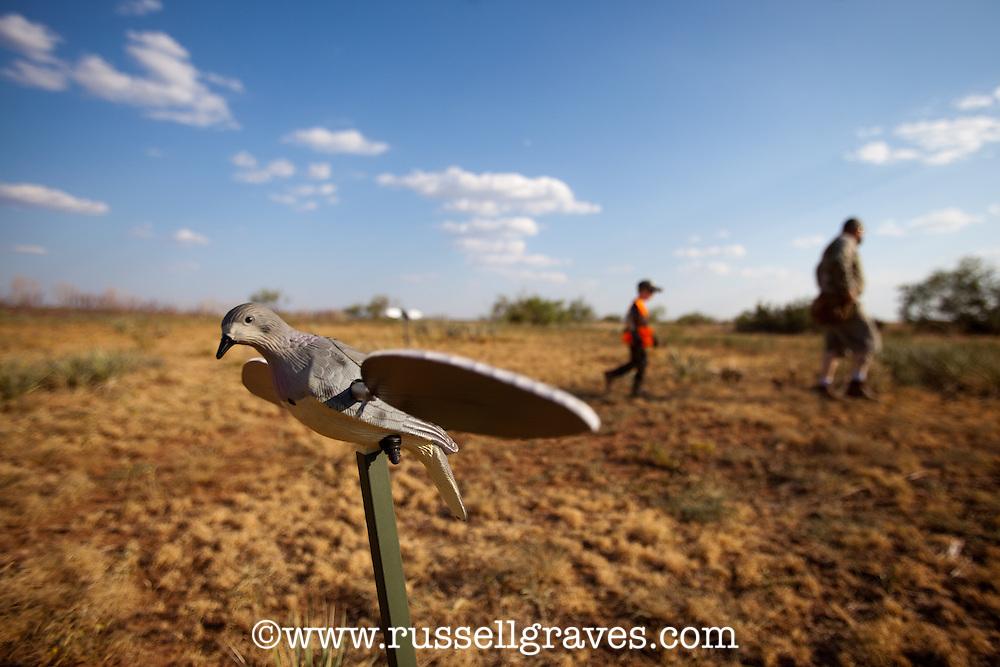 DOVE HUNTERS WALKING AWAY FROM A MOJO DECOY