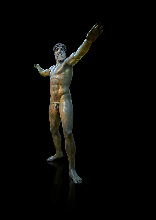 Early classical ancient Greek bronze statue of Zeus or Poseidon, circa 450 BC. Athens National Arcjaeological Museum, cat no X15161. Black background<br /> <br /> This bronze statue was found in the sea off Cape Artemision in northern Euobea. Zeus or Poseidon is shown making a great stride. His lefy arm is extended forward and his righy arm extends back which would have held a thunderbolt, if Zeus, or a trident if Poseidon. The identification of the statue is controversial though it ios more likely Zeus. <br /> <br /> It is one of the few preserved original statues of Severe Style, notable for the exuisite rendering of motion and anatomy. Iy is certainly the work of a great sculptor of the early ancient Greek Classical period .<br /> <br /> If you prefer to buy from our ALAMY STOCK LIBRARY page at https://www.alamy.com/portfolio/paul-williams-funkystock/greco-roman-sculptures.html . Type -    Athens    - into LOWER SEARCH WITHIN GALLERY box - Refine search by adding a subject, place, background colour, etc.<br /> <br /> Visit our ROMAN WORLD PHOTO COLLECTIONS for more photos to download or buy as wall art prints https://funkystock.photoshelter.com/gallery-collection/The-Romans-Art-Artefacts-Antiquities-Historic-Sites-Pictures-Images/C0000r2uLJJo9_s0