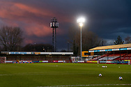 A general view of the stadium ahead of the EFL Sky Bet League 2 match between Crawley Town and Walsall at The People's Pension Stadium, Crawley, England on 16 March 2021.