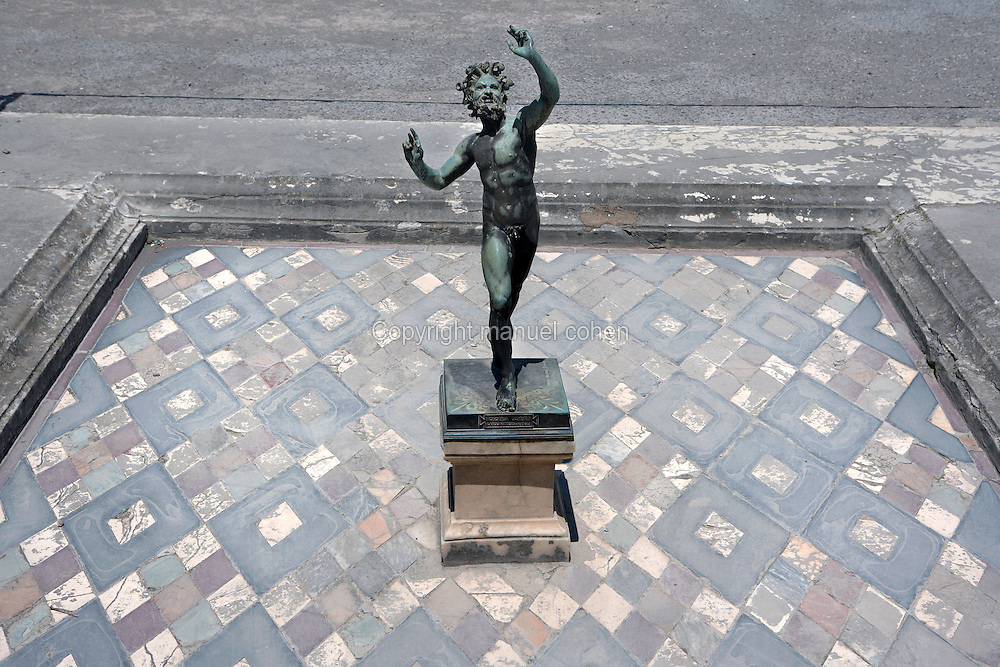 Statue of the Faun, at the House of the Faun, 2nd century BC, Pompeii, the largest (3,000 square meters) and one of the most magnificent houses in Pompeii