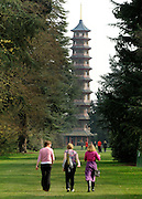 © Licensed to London News Pictures. 22/03/2012. Kew, UK. People walk down one of the boulevards towards the Japanese Pagoda. People enjoy the spring sunshine in The Royal Botanic Gardens at Kew today, 22 March 2012. Temperatures are set to reach 18 degrees celsius in some parts of the UK today. Photo credit : Stephen SImpson/LNP