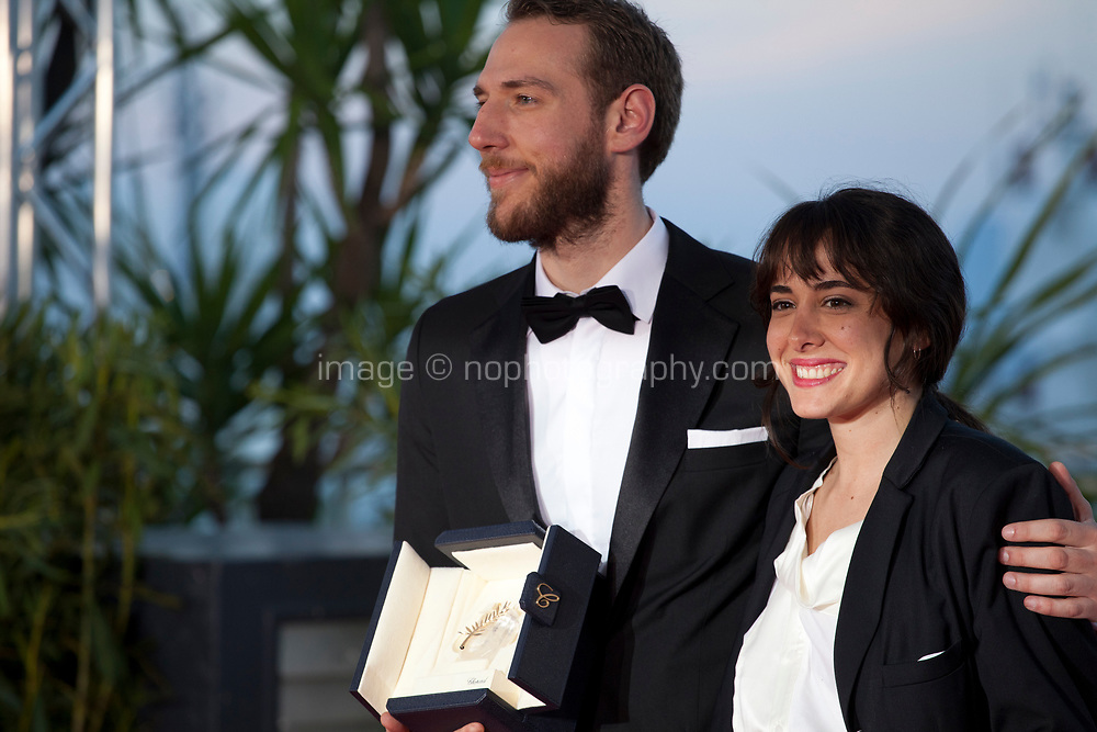 Vasilis Kekatos winner the Best Short Film award for the film The Distance Between Us and The Sky and Agustina San Martín at the Palme D'Or Award photo call at the 72nd Cannes Film Festival, Saturday 25th May 2019, Cannes, France. Photo credit: Doreen Kennedy