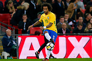 Brazil Real Madrid defender Marcelo (12) in action  during the International Friendly match between England and Brazil at Wembley Stadium, London, England on 14 November 2017. Photo by Simon Davies.